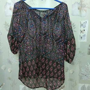 Fun 2 Fun 3/4 button sleeve blouse